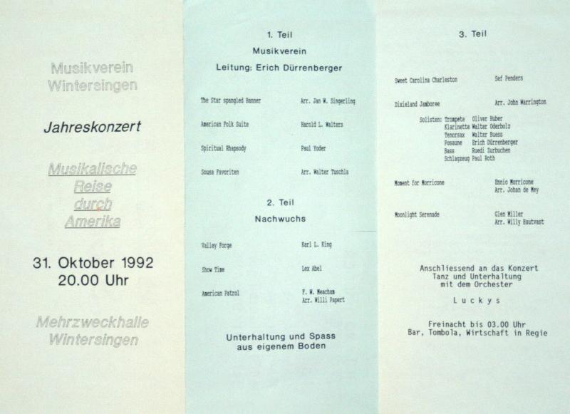 Jahreskonzert 1992 Eine Musikalische Reise durch Amerika