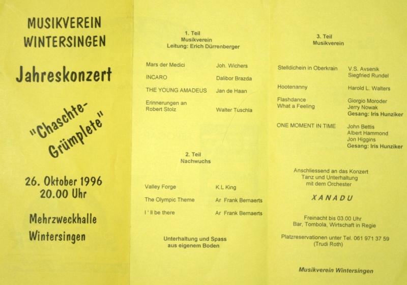 Jahreskonzert 1996 Chaschte Grümplete